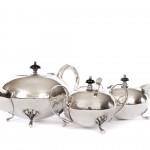 Art Deco silver teapot trio