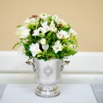 floral decoration in champagne bucket