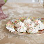 round floral plate with meringues